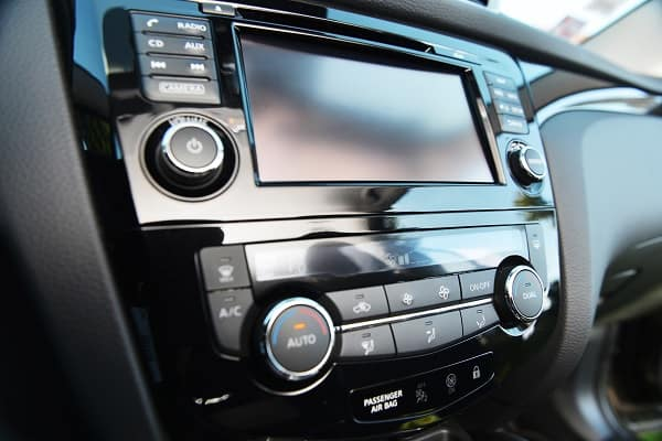 Close up of car radio and CD player